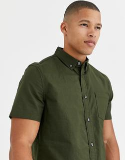 Burton Menswear - Oxford-Hemd in Khaki-Grün