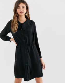 Monki - Schwarzes, langärmliges Minikleid mit übergroßem Kragen