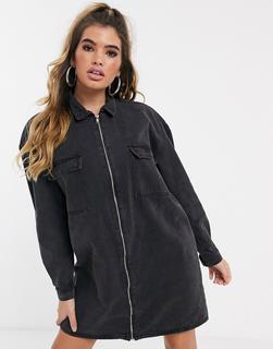 Missguided - Schwarzes Jeans-Hemdkleid mit durchgehendem Reißverschluss