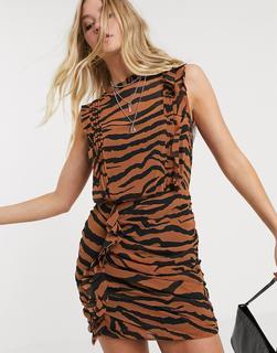 AllSaints - Hali Zephyr – Minikleid mit Tigermuster-Mehrfarbig