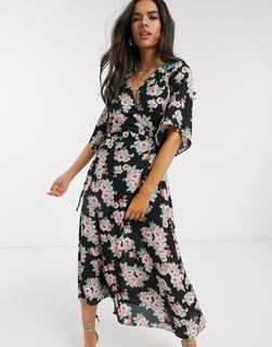 Liquorish - Wickelkleid in Midi-Länge mit großformatigem Blumenmuster-Mehrfarbig
