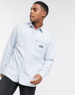 Levis - Levi's – New Camp – Hemdjacke aus Jeansstoff mit Logo auf der Tasche und sonnengebleichter Indigo-Waschung-Blau