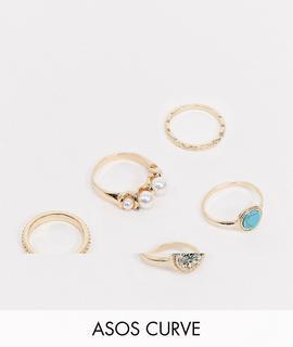 ASOS Curve - ASOS DESIGN Curve – 5er-Set Ringe mit Perlen- und Schmucksteindesign in Gold