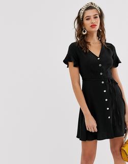 River Island - Schwarzes Hemdkleid mit ausgestellten Ärmeln