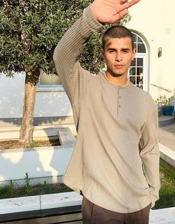 ASOS DESIGN - Legeres, langärmliges, geripptes Shirt in verwaschenem Khaki-Beige