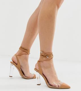 ASOS DESIGN - Wide Fit – Pucker Up – Spitze High-Heels mit Beinschnürung-Beige