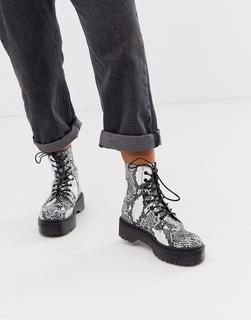 Glamorous - Stiefel mit flacher Plateausohle und Schlangenleder-Optik-Mehrfarbig