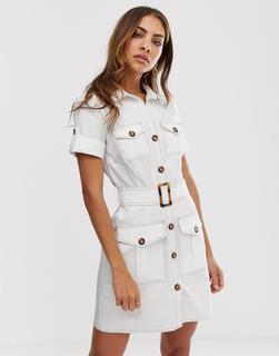 River Island - Hemdkleid mit Cargotaschen und Gürtel in Weiß