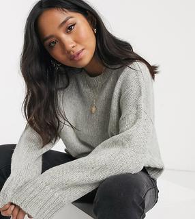 New Look Petite - Grauer Pullover mit Rundhalsausschnitt