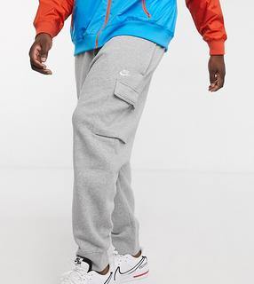 Nike - Club Plus – Graue Cargo-Jogginghose mit Bündchen