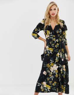 Liquorish - Midi-Wickelkleid mit Blumenmuster und gerüschtem Kragen-Mehrfarbig