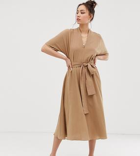 Glamorous Tall - Midikleid mit Gürtel und Kimono-Ärmeln-Beige