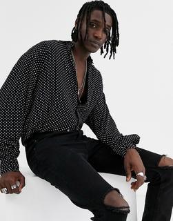 ASOS DESIGN - Übergroßes, gepunktetes Hemd im Stil der 90er-Schwarz
