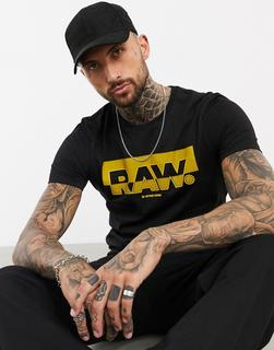 G-Star - Originals – Schwarzes T-Shirt mit Flock-Logo