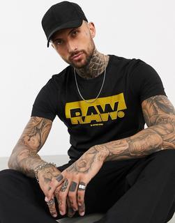 G-Star - Originals – Schwarzes T-Shirt mit Flock-Logo