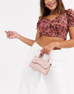 ASOS DESIGN - Kleine Handtasche mit abgerundetem Umschlag und abnehmbarem Riemen-Rosa