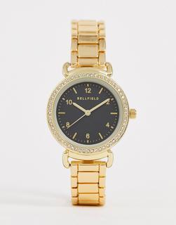 Bellfield - Armbanduhr für Damen mit schwarzem Zifferblatt-Gold
