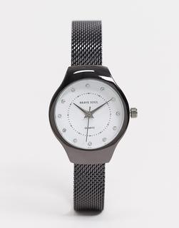Brave Soul - Silberne Uhr mit Netzarmband