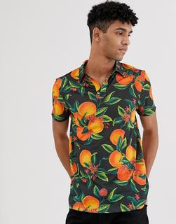 ASOS DESIGN - Polohemd mit Blumen- und Früchte-Print und Reverskragen-Schwarz