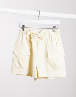 4th + Reckless - Figurbetonende Utility-Shorts in Creme-Cremeweiß
