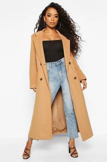 boohoo - Womens Zweireihiger Mantel In Wolloptik Mit Gürtel - Kamelhaarfarben - 34, Kamelhaarfarben