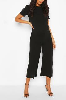 boohoo - Womens Maternity Scallop Nursing Culotte Jumpsuit - Black - 16, Black
