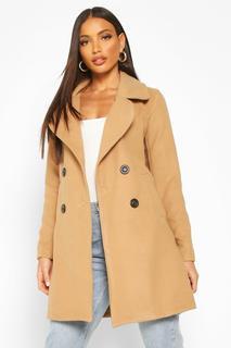 boohoo - Womens Zweireihiger Mantel In Wolloptik Mit Kragen - Kamelhaarfarben - 34, Kamelhaarfarben
