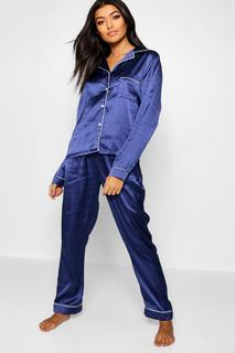 boohoo - Womens Satin Button Through Piped Pj Set - Navy - 10, Navy