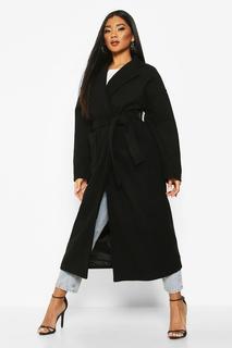 boohoo - Womens Oversized Maxi-Mantel In Wolloptik Mit Gürtel Und Tasche - Schwarz - 38, Schwarz