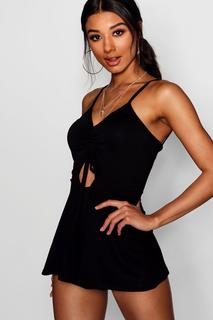 boohoo - Womens Ruched Front Strappy Playsuit - Black - 8, Black