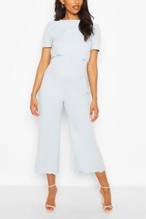 boohoo - Womens Maternity Scallop Nursing Culotte Jumpsuit - Blue - 10, Blue