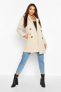 boohoo - Womens Zweireihiger Slim Fit Mantel In Wolloptik - Steingrau - 38, Steingrau
