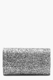 boohoo - Womens Structured Glitter Envelope Clutch Bag With Chain - Grey - One Size, Grey