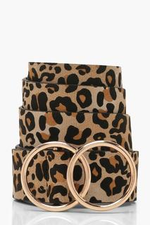 boohoo - Womens Leopard Belt With Gold Double Ring - Brown - One Size, Brown