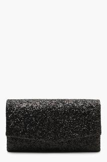 boohoo - Womens Structured Glitter Envelope Clutch Bag With Chain - Black - One Size, Black