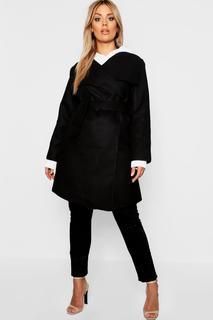 boohoo - Womens Plus Wool Look Wrap Front Coat - Black - 16, Black