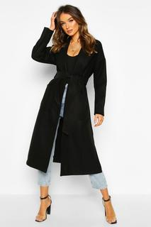 boohoo - Womens Oversized Dressing Gown Belted Coat - Black - 14, Black