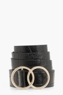 boohoo - Womens Double Ring Croc Print Buckle Belt - Black - One Size, Black