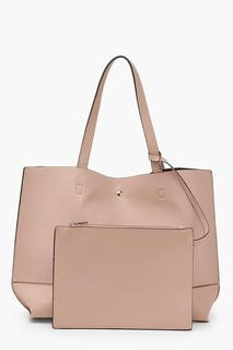 boohoo - Womens Textured Pu Tote & Tablet Bag - Pink - One Size, Pink