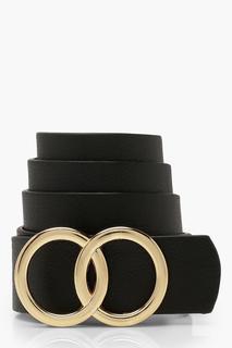 boohoo - Womens Plus Double Ring Detail Boyfriend Belt - Black - One Size, Black