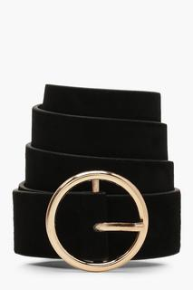 boohoo - Womens Suedette Circle Buckle Belt - Black - One Size, Black
