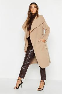 boohoo - Womens Belted Shawl Collar Coat - Beige - One Size, Beige