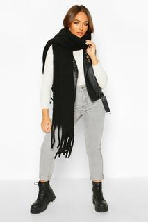 boohoo - Womens Chunky Oversized Fringe Scarf - Black - One Size, Black