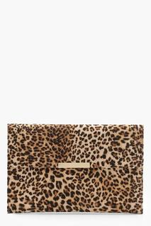 boohoo - Womens Leopard Envelope Clutch Bag - Beige - One Size, Beige