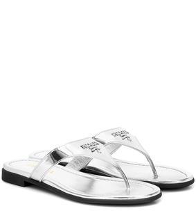 Prada - Sandalen aus Metallic-Leder