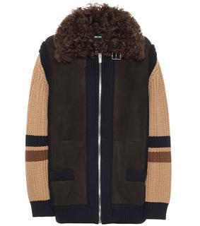Miu Miu - Jacke aus Wolle und Veloursleder