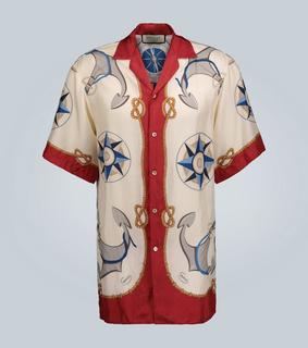 Gucci - Bedrucktes Kurzarmhemd aus Seide