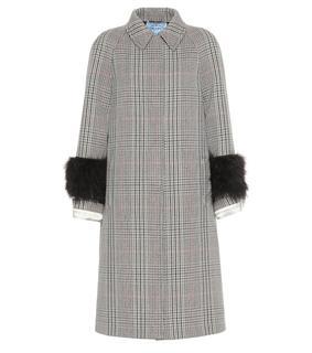 Prada - Karierter Mantel aus Wolle