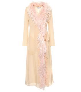 Prada - Mantel aus Seide mit Federn