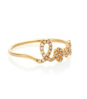 Sydney Evan - Ring Love aus 14kt Gelbgold mit Diamanten